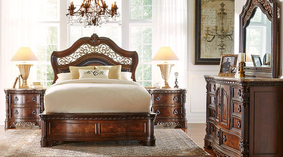Handly Manor Pecan 5 Pc King Panel Bedroom From Furniture Enchanting King And Queen Bedroom Decor Review
