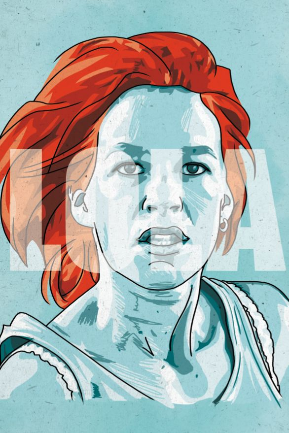 "Portrait of Franka Potente in Tom Tykwer's film ""Run, Lola, Run (Lola Rennt)"""