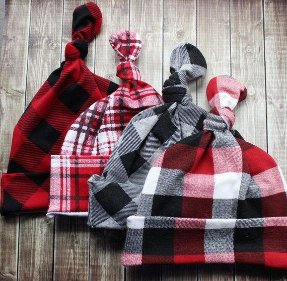 Photo of Christmas baby beanie, black red plaid and buffalo plaid print top knot baby girl baby boy beanie hat, Christmas baby gift