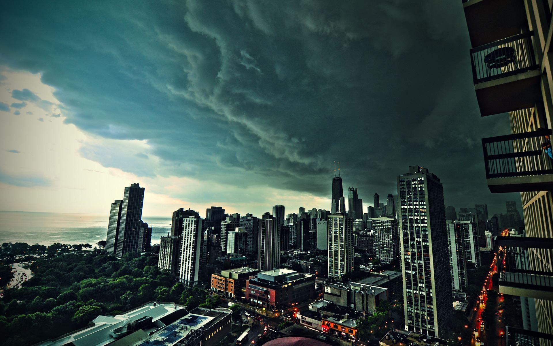Storm Clouds Over City 1920x1200 - ImgPrix