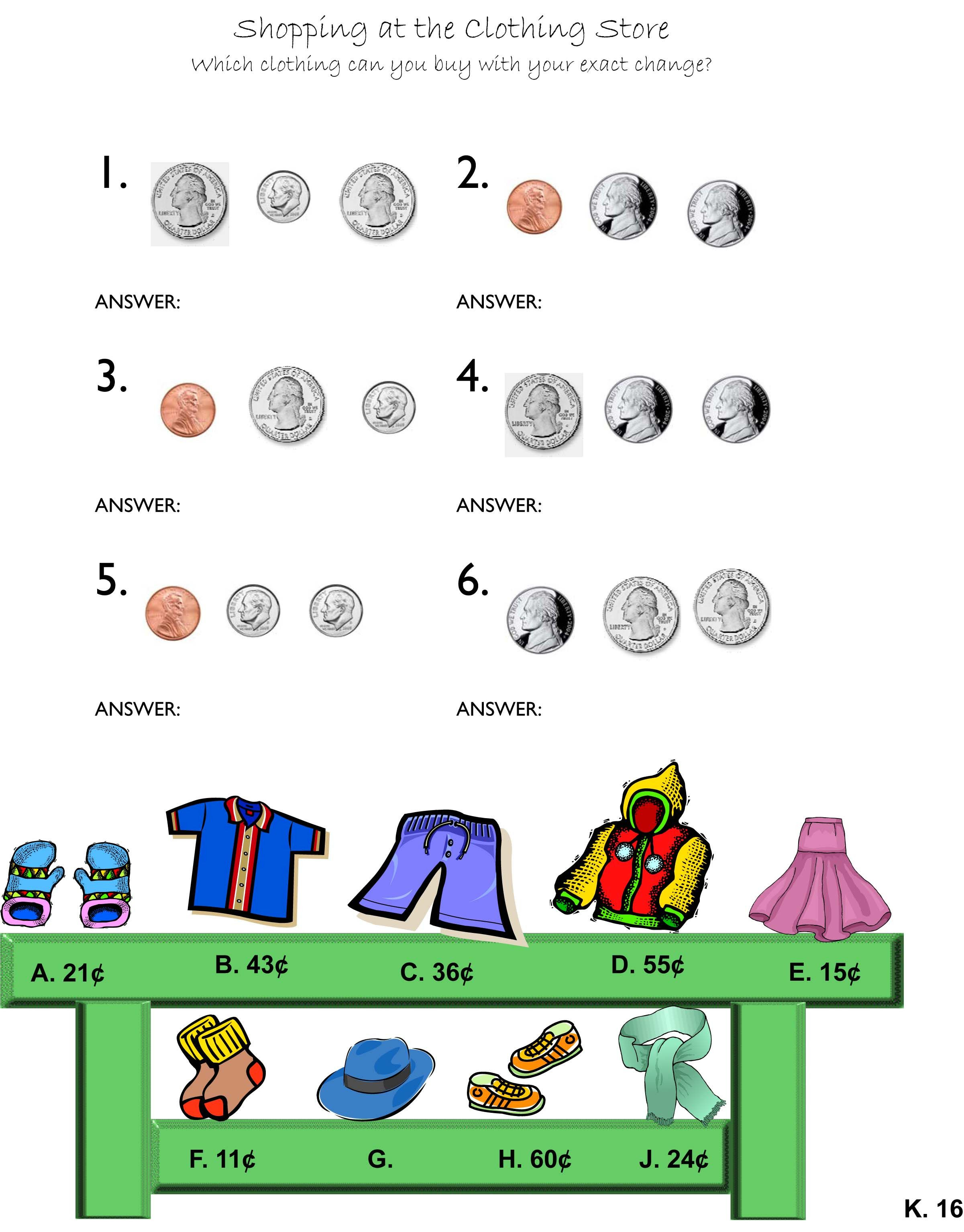 Formal 2nd Grade Money Worksheets