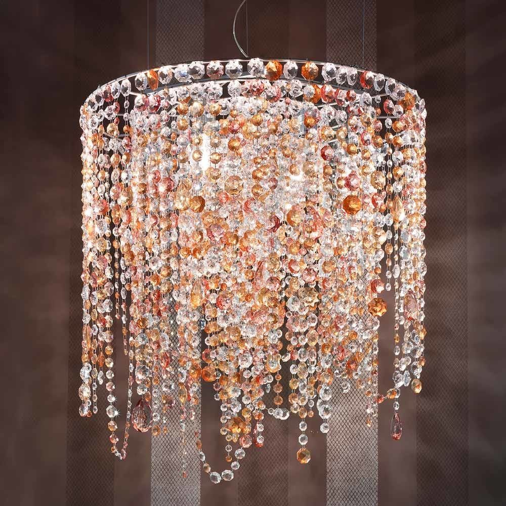 Modern Luxury Crystal Chandelier Lamp Multi Coloured Glass