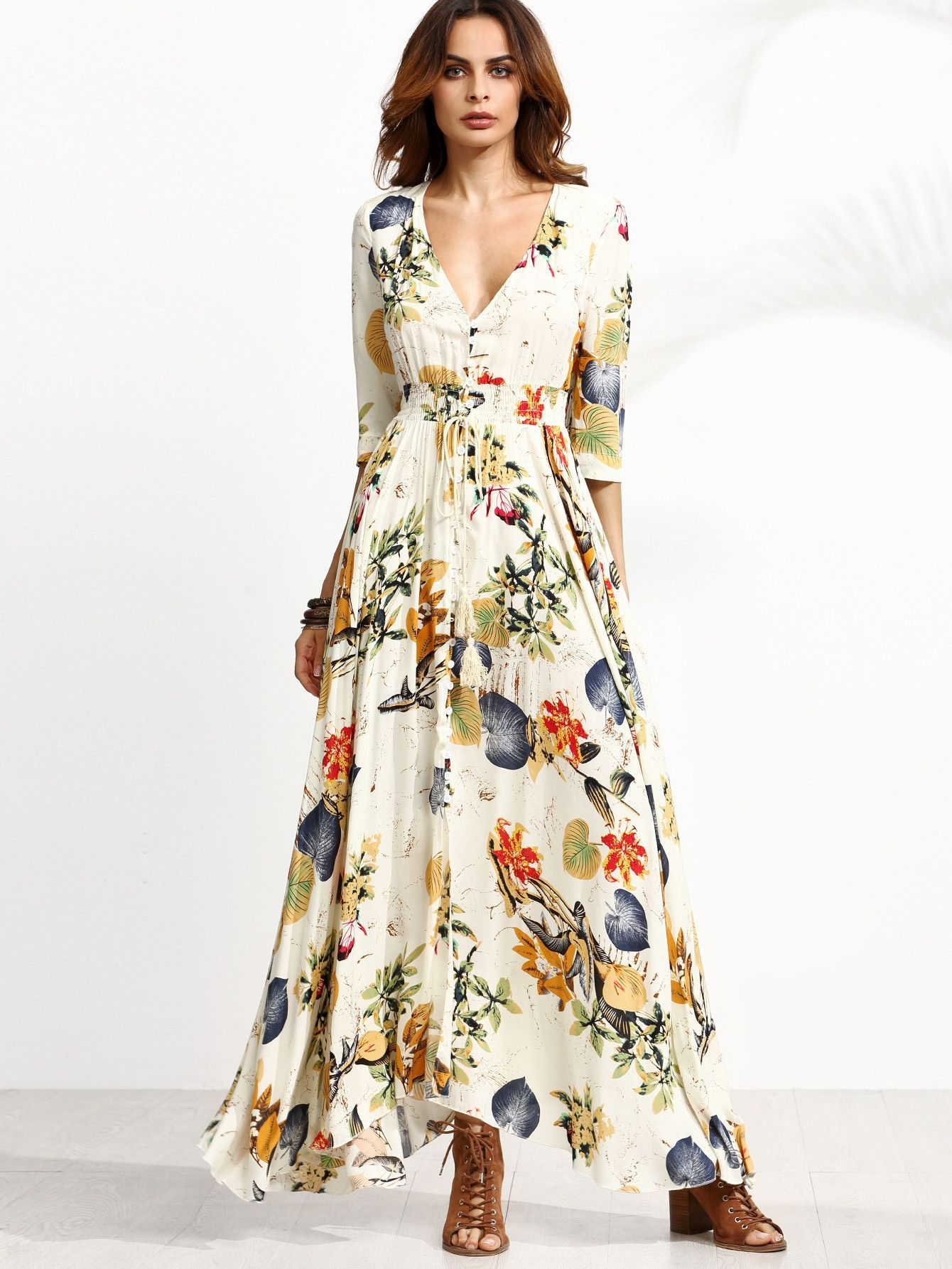 f5771b7745 ... Floral Sleeve Length: Half Sleeve Color: Apricot Dresses Length: Maxi  Style: Sexy, Vacation, Boho Material: 100% Rayon Neckline: Deep V Neck  Silhouette: ...