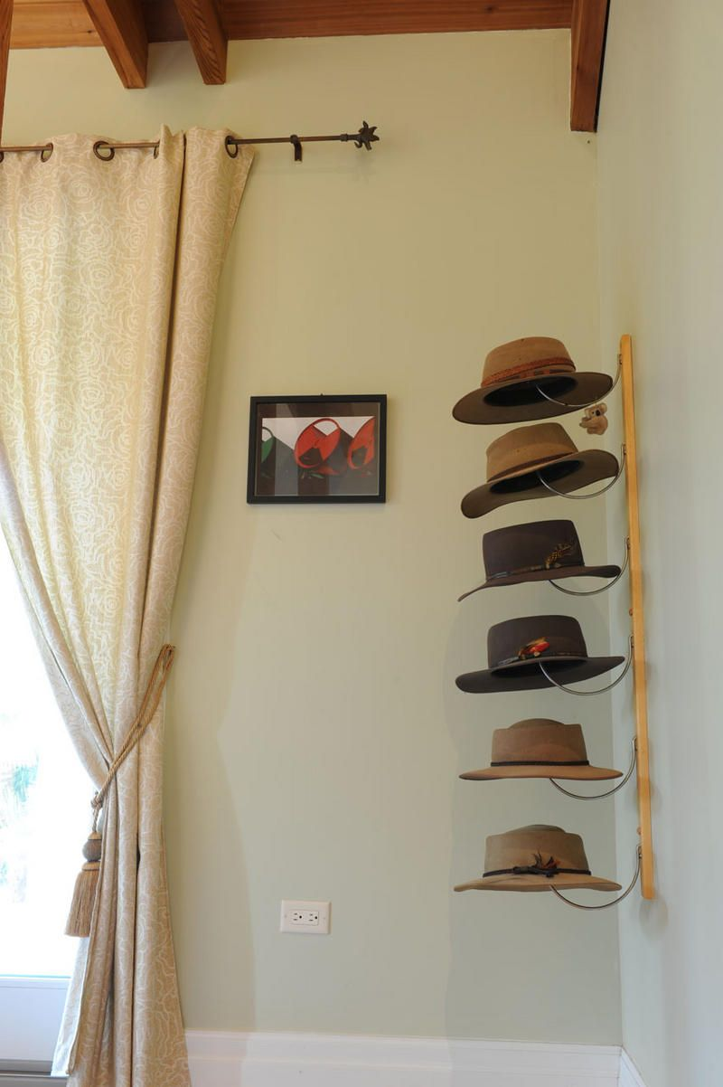 Cute Hat Organization  I Need To Do Something Like This.
