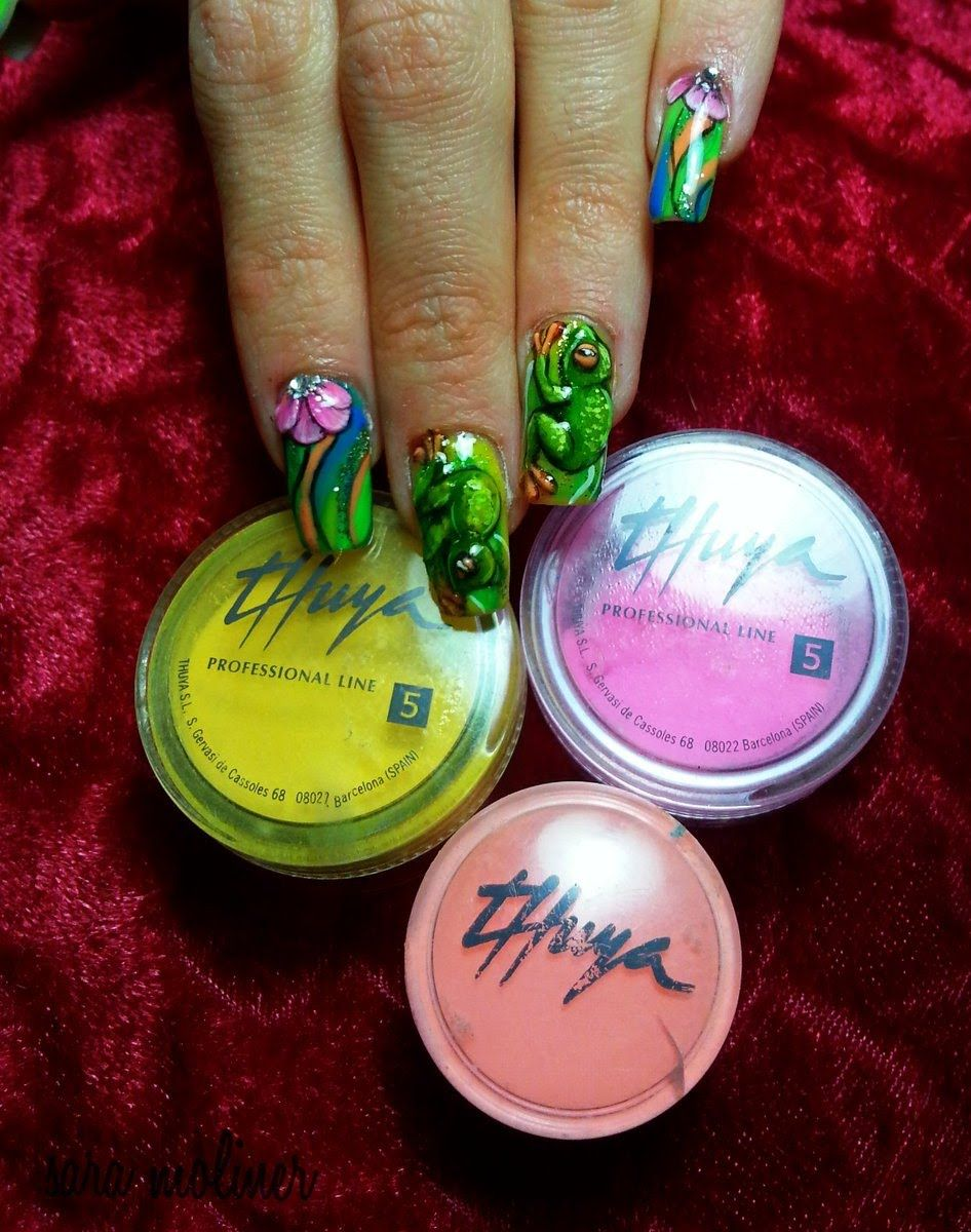 Decoración de uñas en 3D, ranas y flores | Nails | Pinterest | Uñas ...