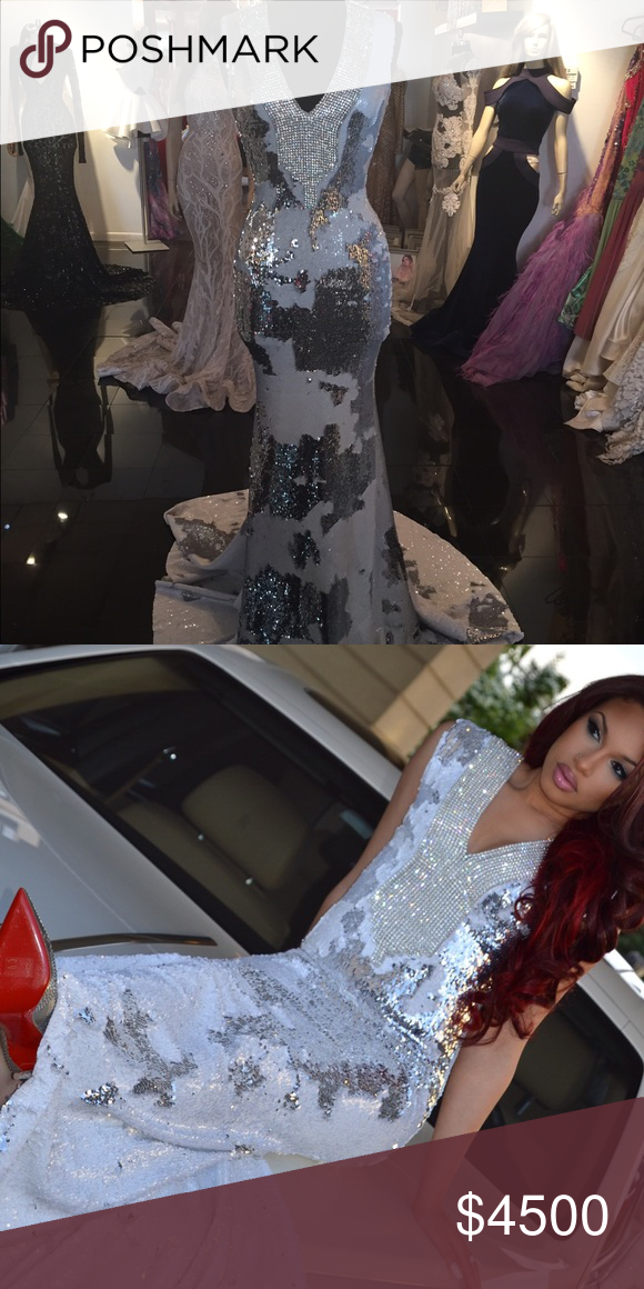 Versailles Brooklyn Custom Made Sequins Gown White Silver Rhinestones Sequence Dresses Prom