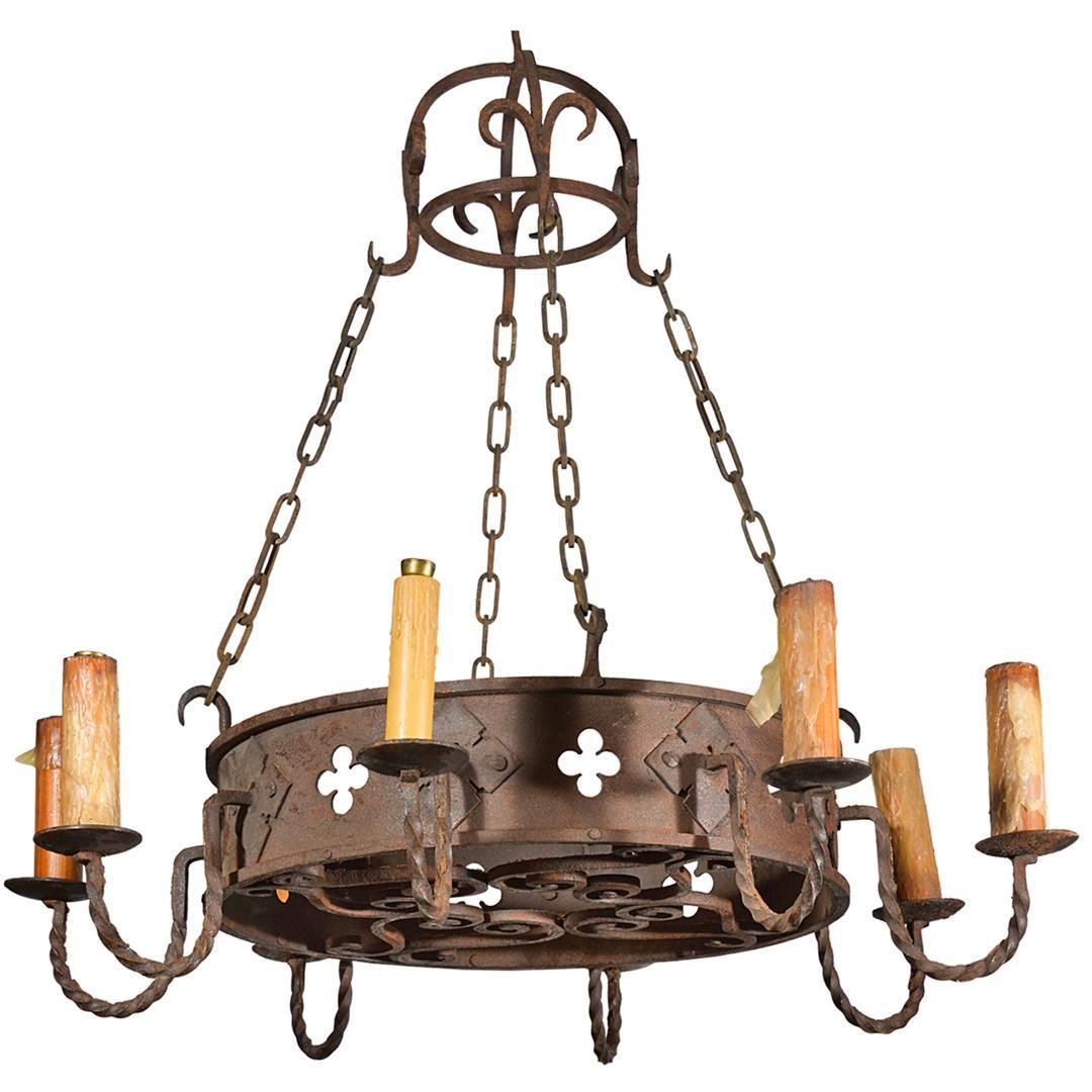 Circa 1900 round antique iron chandelier from france