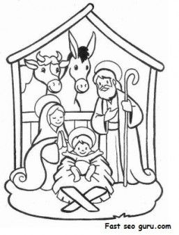 Printable Christmas Jesus in the manger coloring pages - Printable ...