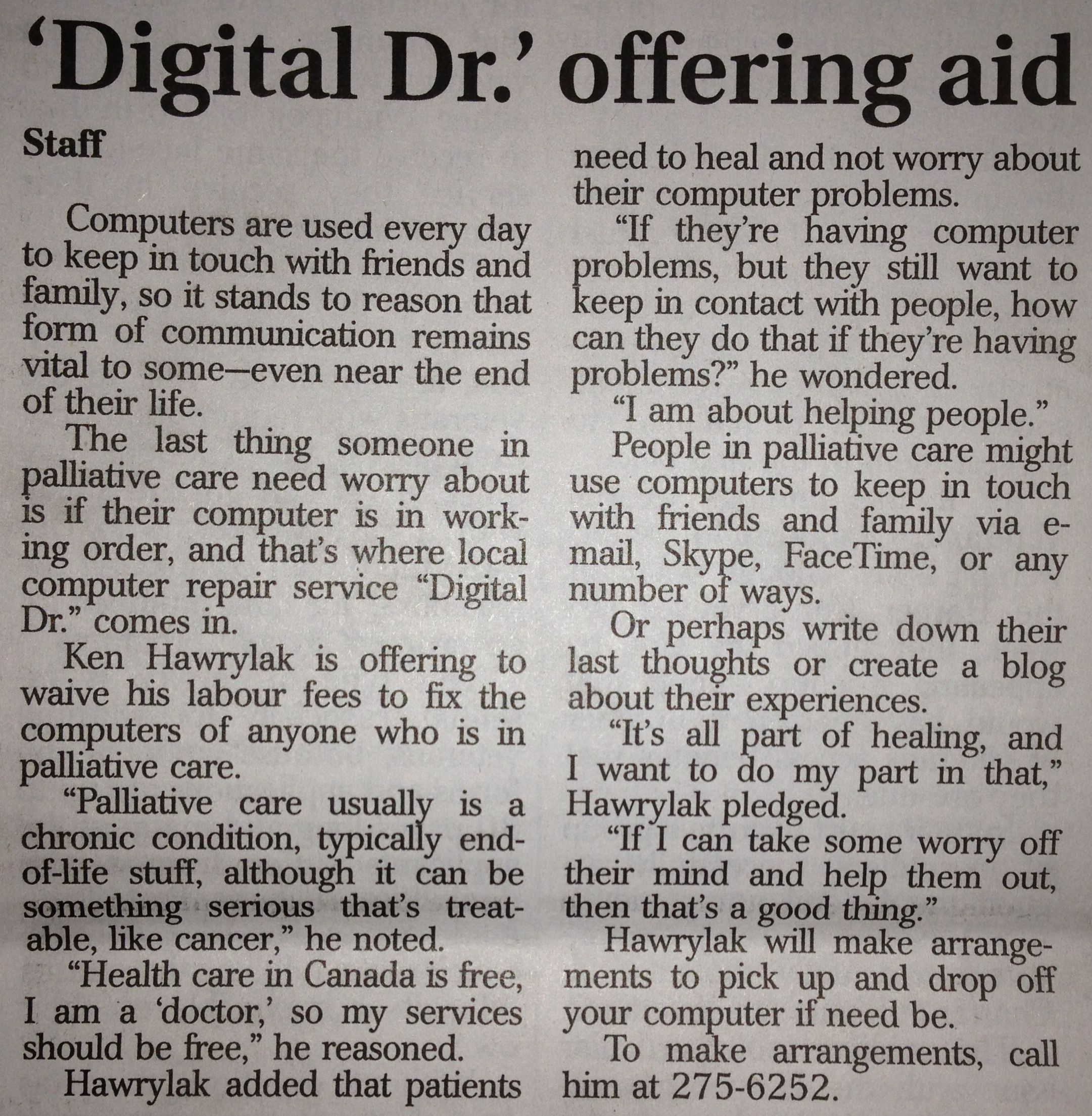Digital Dr Offers Aid To Palliative Care Patients Locally