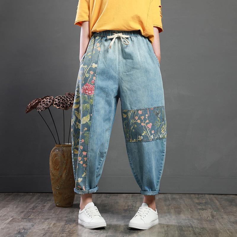 Photo of Vintage Patch Designs Loose Harem Jeans