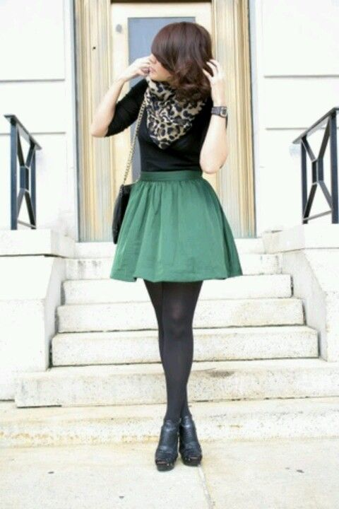Would Be Cute If The Skirt Was Longer Green Skirt Black Shirt