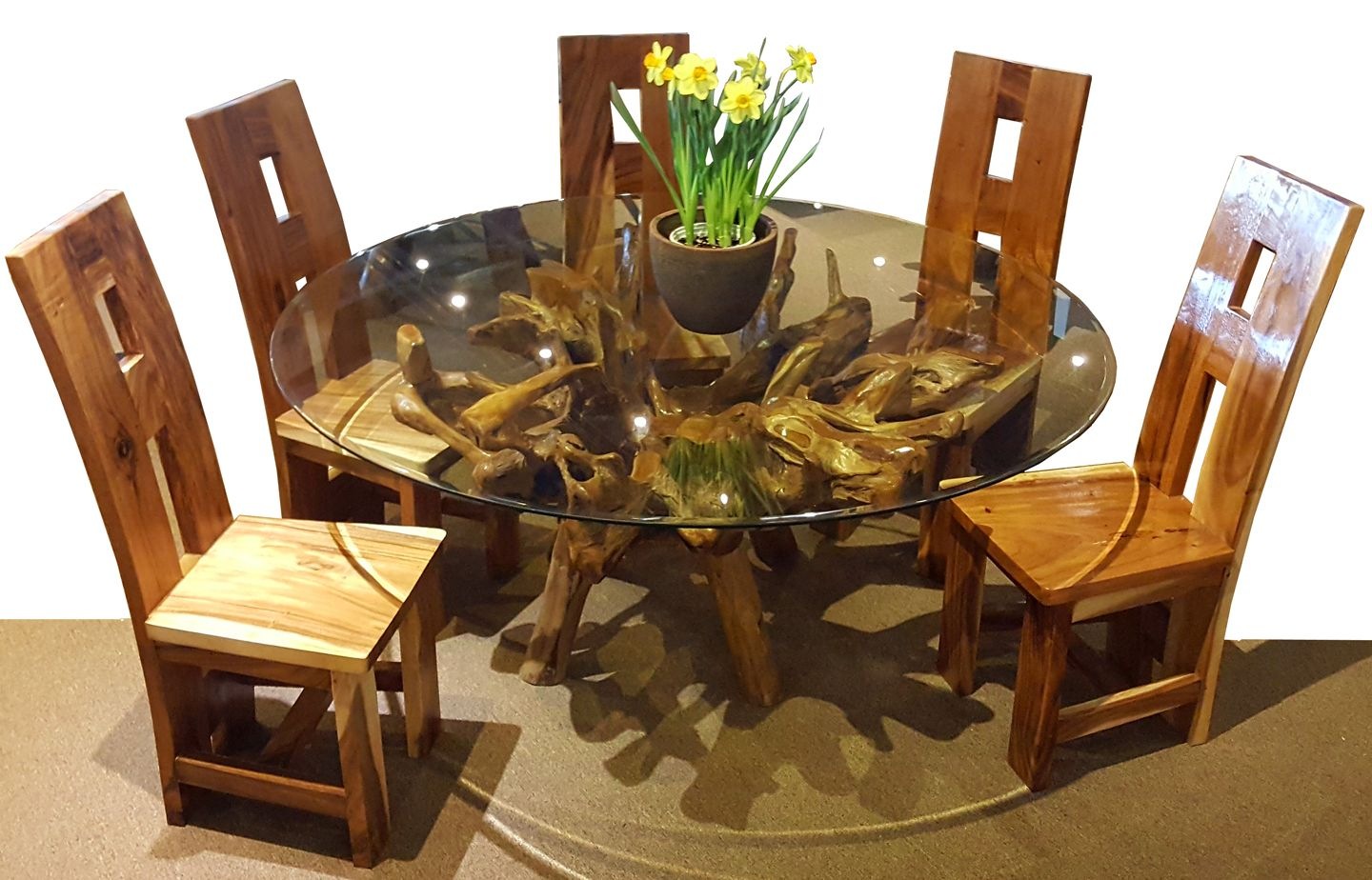 Teak Wood Root Dining Table Including A 63 Inch Round Glass Top Dining Table Dining Dining Chairs