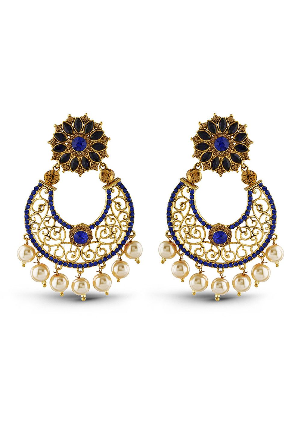 Luxurious Designer Collection In Artificial Jewellery Of Earrings Blue Gold