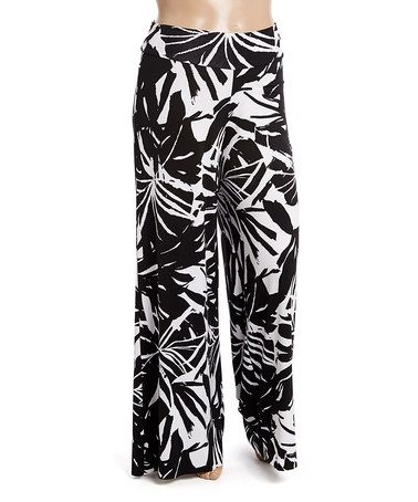 Love this Black & White Palazzo Pants - Plus on #zulily! #zulilyfinds