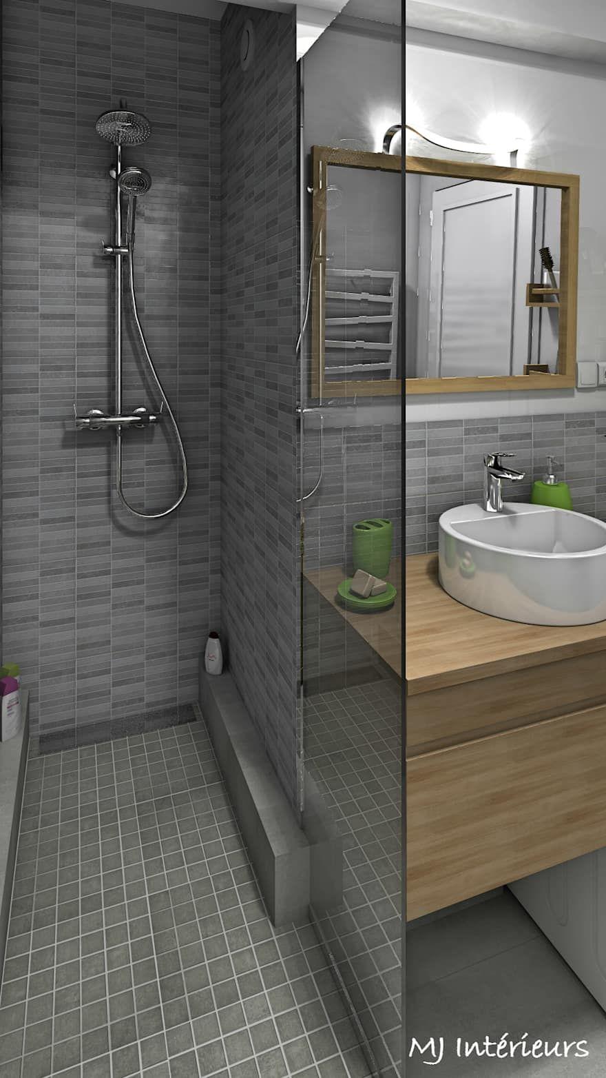 Une douche l 39 italienne a remplac la baignoire salle de bains de style par mj int rieurs for Amenagement salle de bain douche italienne