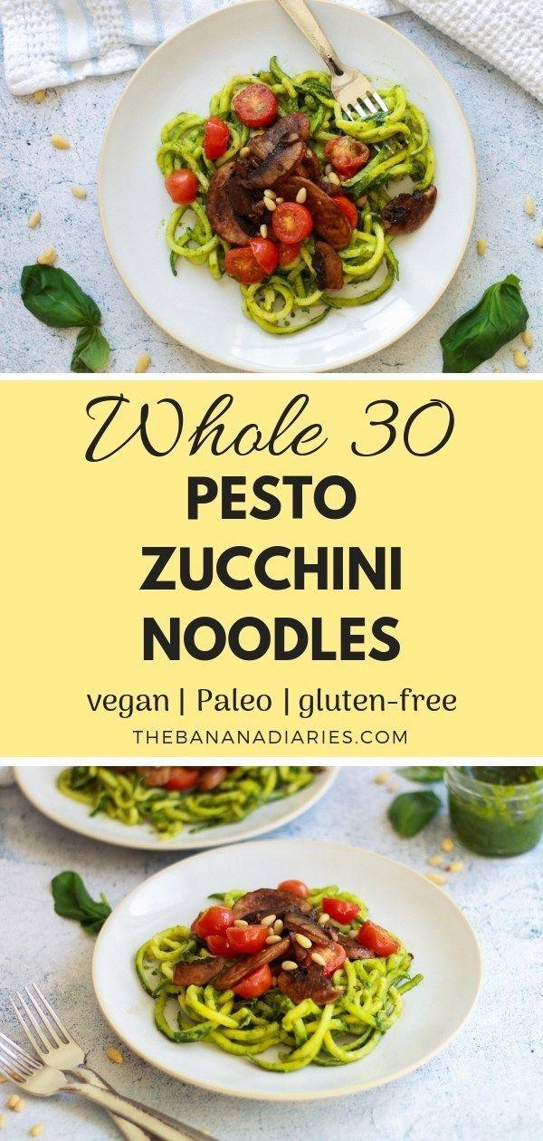 Vegan Pesto Zoodles Recipe Whole 30 Recipes Pesto