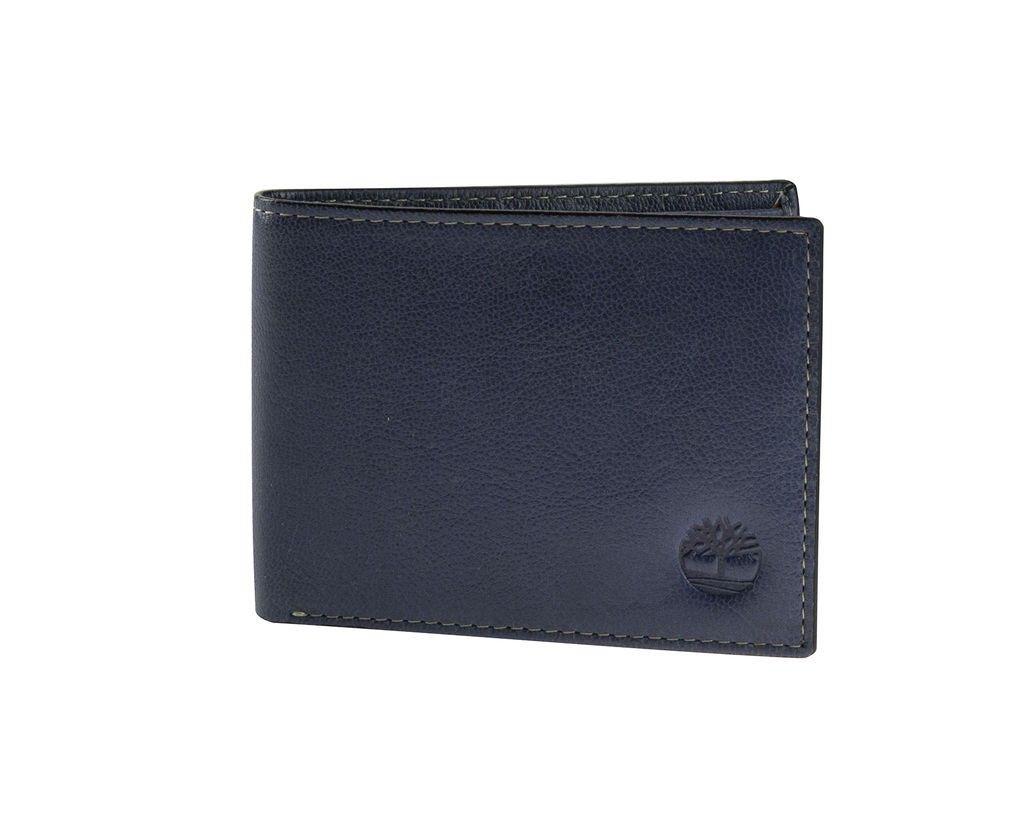 Timberland Blue Ink Genuine Leather Fine Break Slimfold Wallet Wallet Genuine Leather Bi Fold Wallet