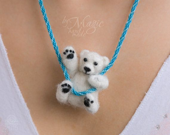 Needle felted polar bear on braided necklace, felt jewelry, winter gift, toy bear, felted creature, cute animal, soft bear #beartoy
