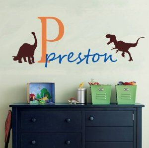 Amazoncom Vinyl Wall Decal Nursery Monogram Baby Custom Name - Custom vinyl wall decals dinosaur