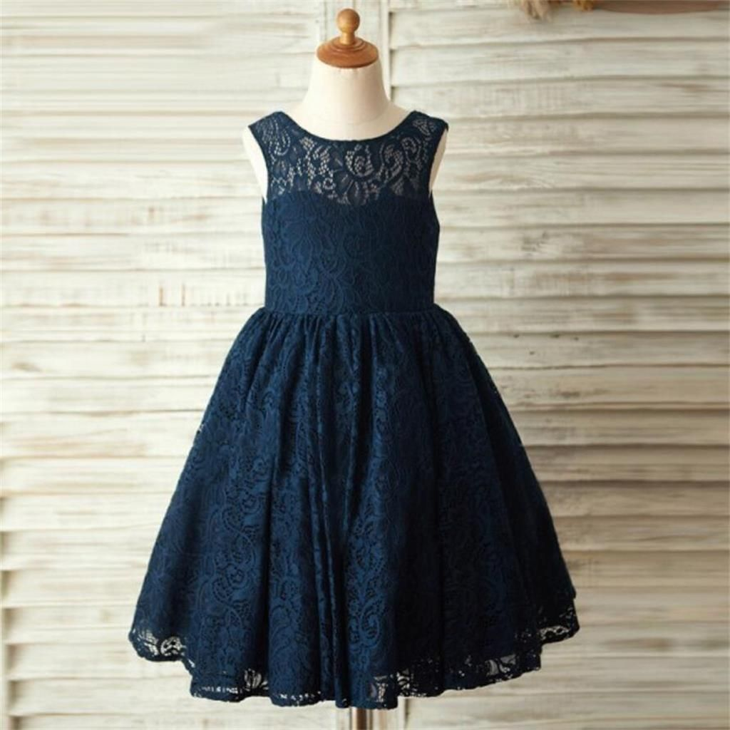 Navy blue lace lovely cute flower girl dresses with bow junior