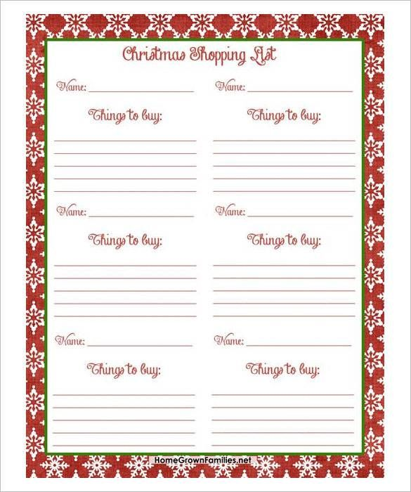Perfect Free Christmas Shopping List PDF Download , 24+ Christmas Wish List  Template To Fill Out
