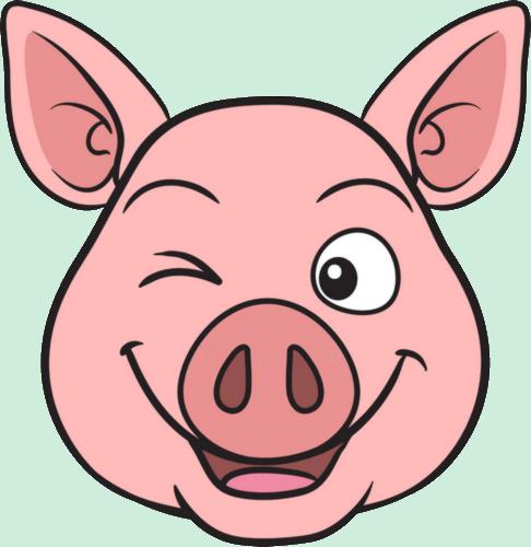 FQ - cochon rose heureux clin d'oeil - smiley émoticône ...