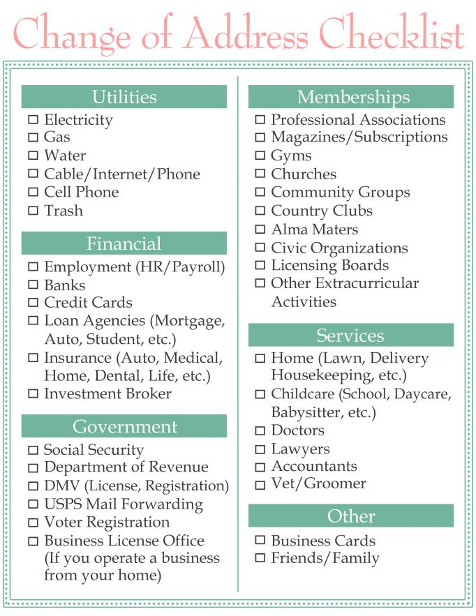 Change of Address Checklist | Moving? | Pinterest | Change ...