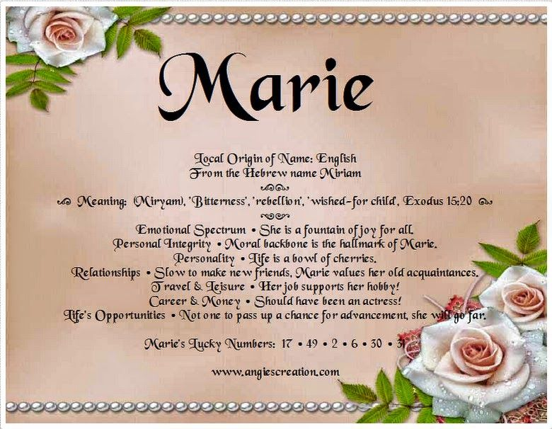 40+ Marie meaning of my name information