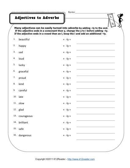 Changing Adjectives to Adverbs | Adverbs, Free printable ...