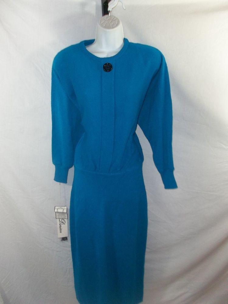 ee5b69ab5f6 VINTAGE 80s DARIAN BLUE SWEATER DRESS  DARIAN Vintage Antiques