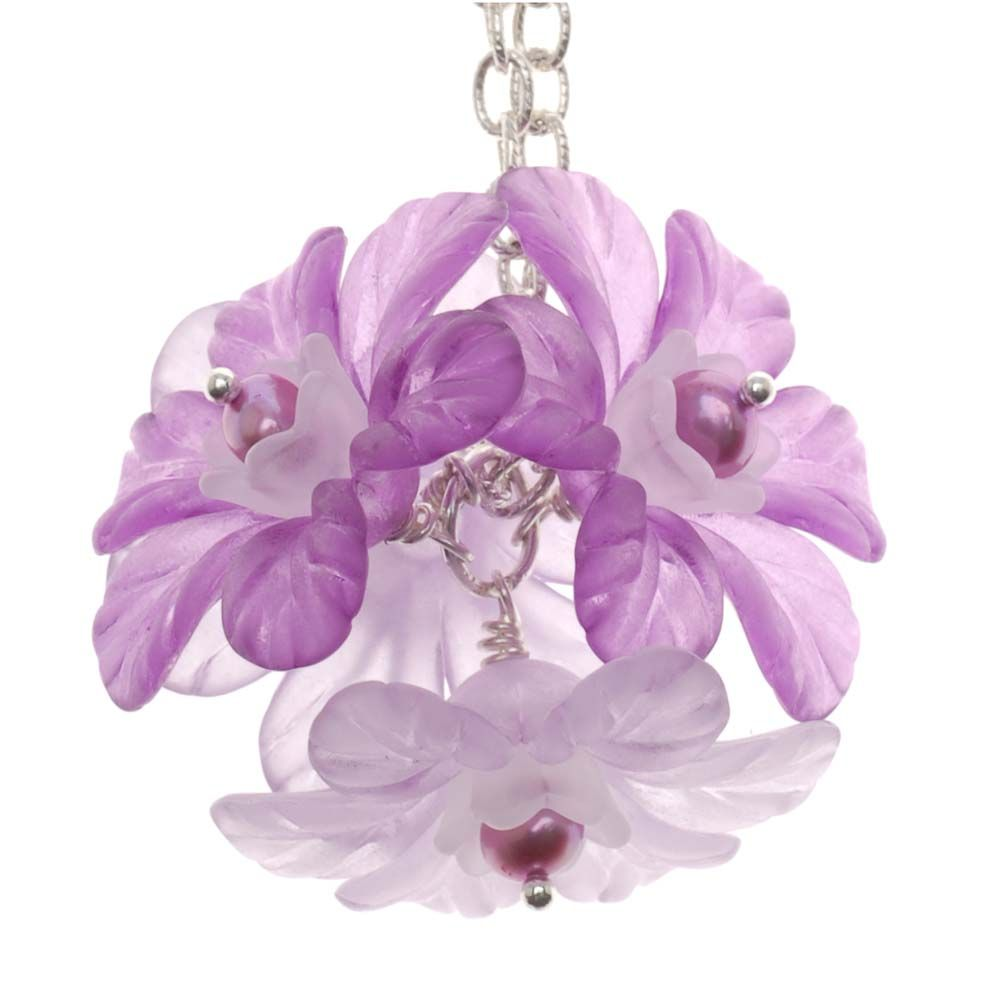 Lucite Flower Ball Necklace