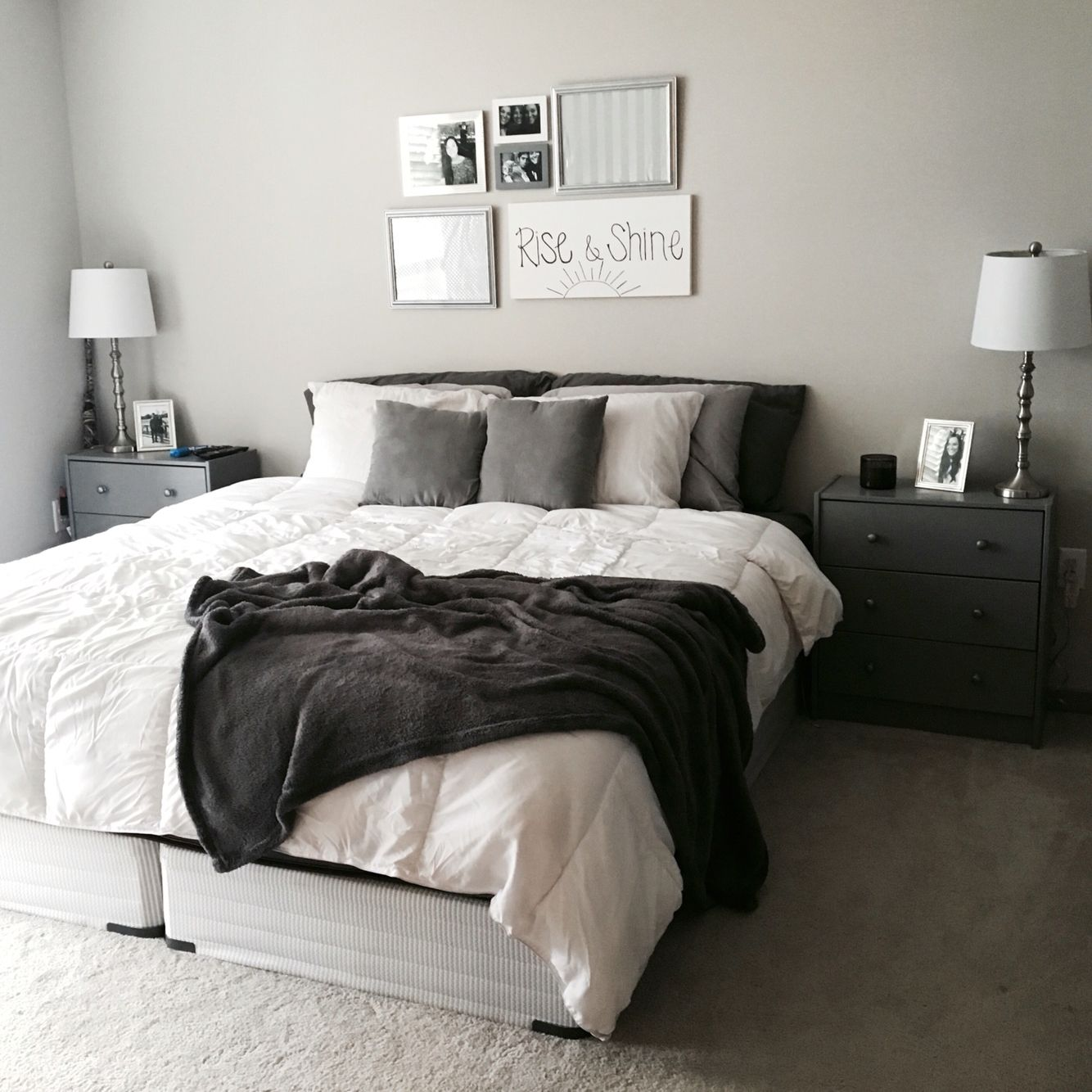 Grey White Bedroom Theme All It Needs Is An Upholstered Headboard White Comforter Bedroom Comfortable Bedroom Grey Headboard Bedroom