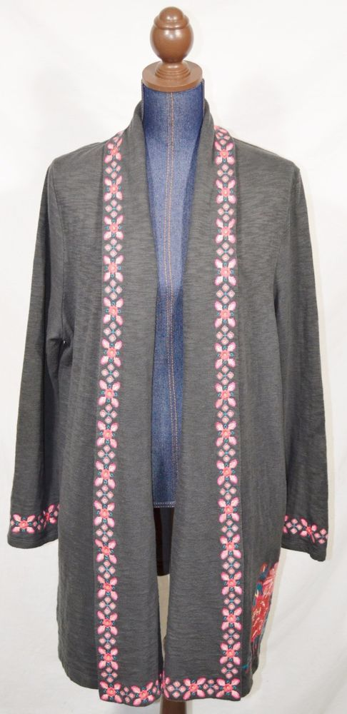 Womens Long Sleeve Slouchy Cardigan Open Front Draped with Pockets Mid Length