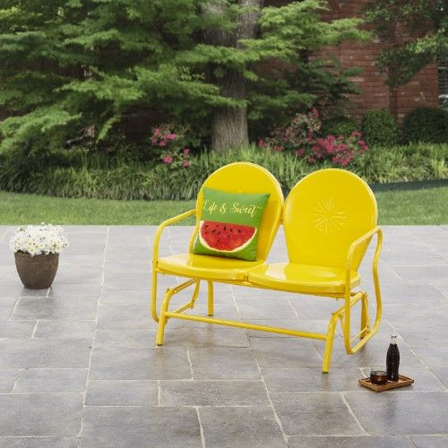 Surprising Mainstays Retro Outdoor Glider Bench Yellow Butterfield Machost Co Dining Chair Design Ideas Machostcouk