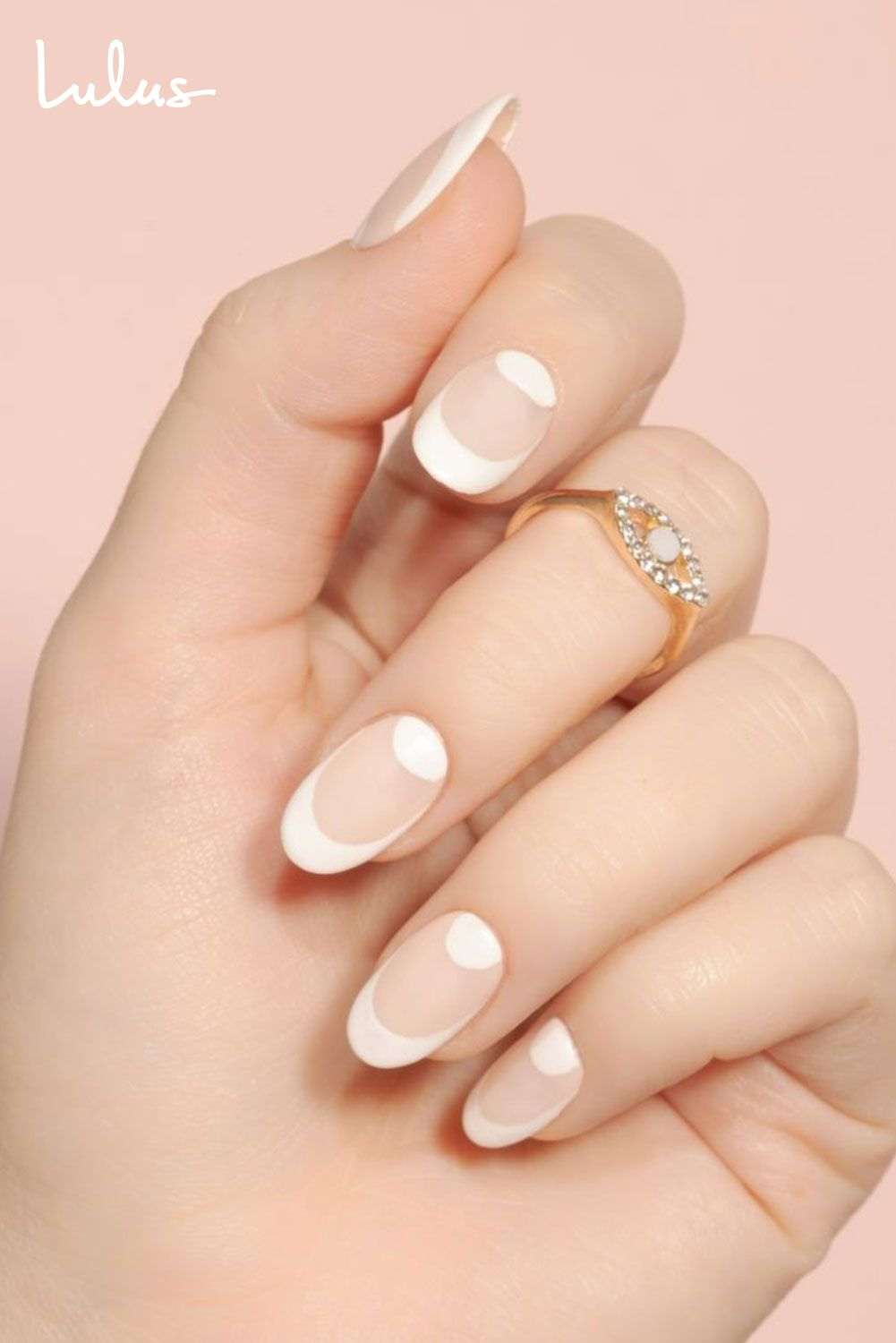 Wedding Ready White Half Moon Nails With French Tips In 2020