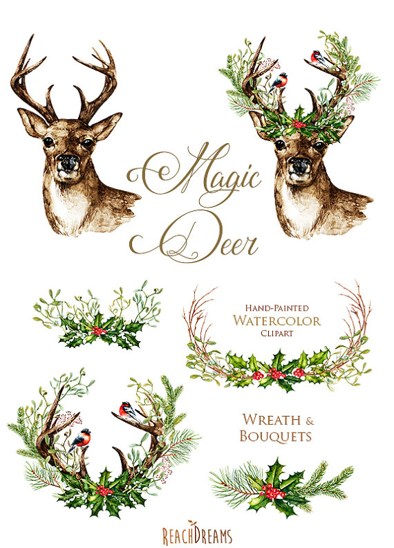 this set of 6 high quality hand painted watercolor deers with antlers wreath and bouquets perfect graphic for wedding invitations greeting cards - Deer Christmas Cards
