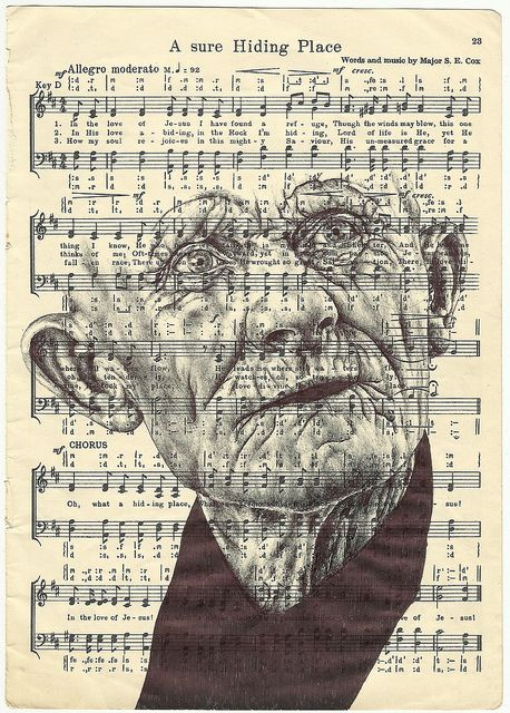 'we all wear a mask' Bic biro drawing on 1950s music sheet.