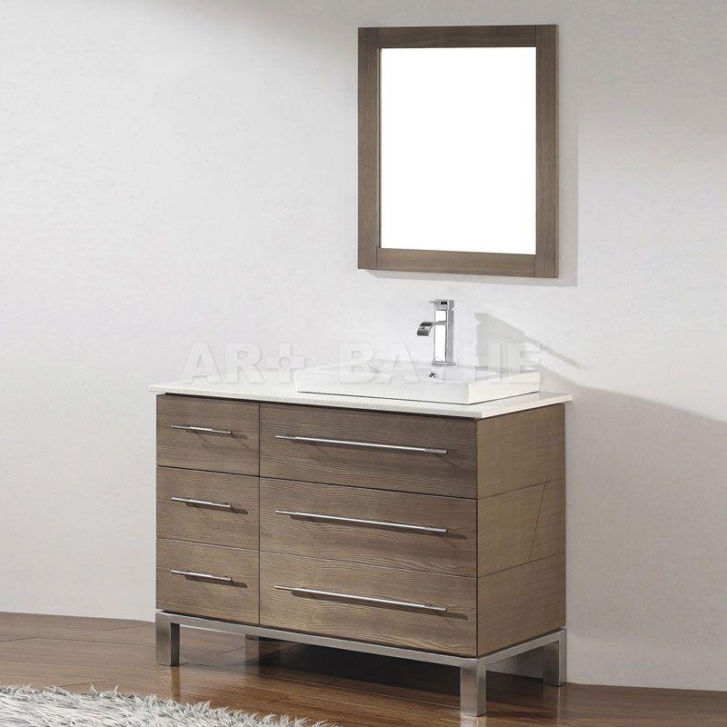 Art Bathe Ginza Smoked Ash Bathroom Vanity Solid Hardwood - 42 inch bathroom vanity with top for bathroom decor ideas