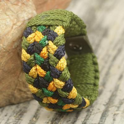Green and Gold Woven Bracelet Hand Made for Men - Golden Outlook | NOVICA