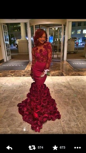 Source Red Rose Prom Dresses Long Sleeve Ruffles Taffeta Floor ...