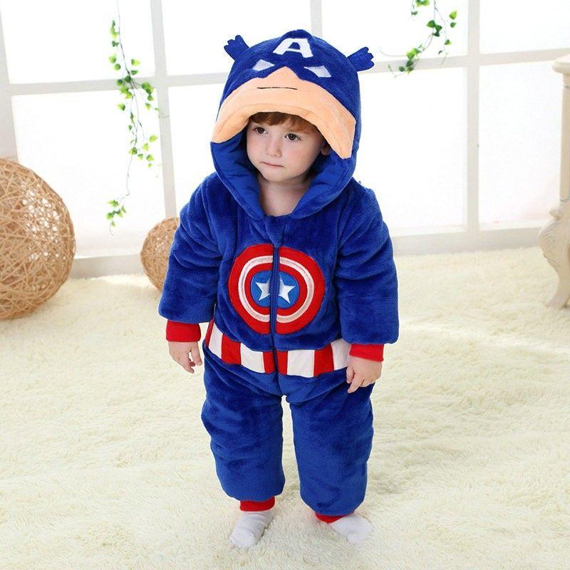 af52a7a0f45c Captain America Super Hero Kigurumi Onesies Pajamas Costumes Winter ...