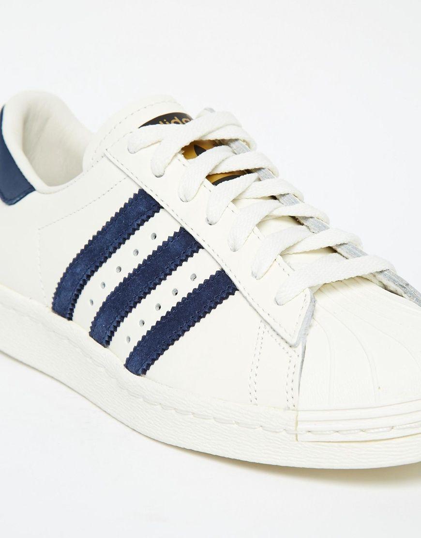 08cb52c844c9 Image 4 - Adidas Superstar 80s Vintage White   Navy Trainers