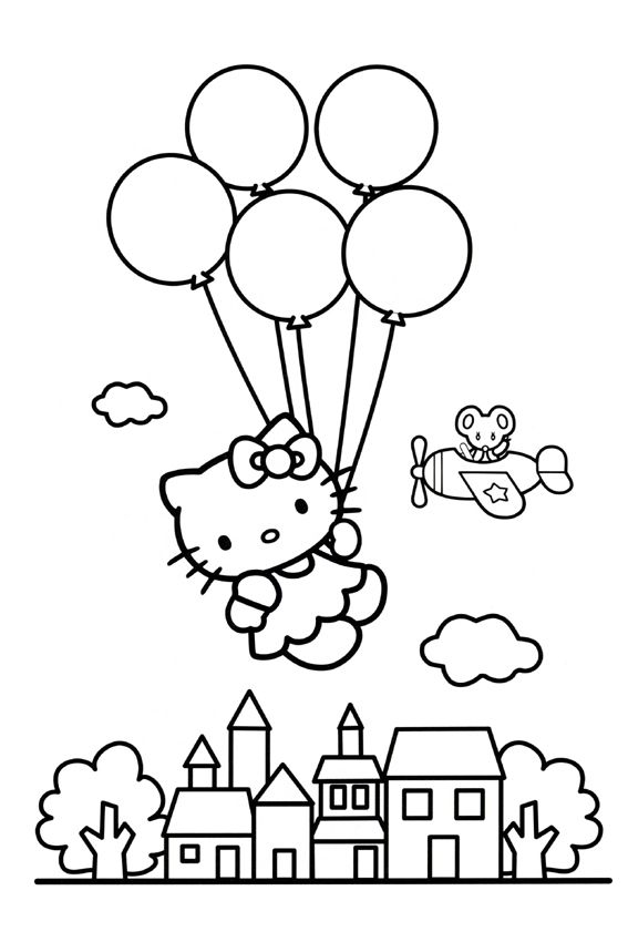 hello-kitty-balloons-coloring-page.jpg (567×850) | 著畫 | Pinterest