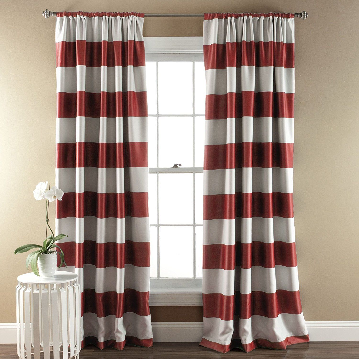 84 Inch Girls Burgundy Red White Rugby Stripes Curtains Panel Pair Set Red Color Drapes Cabana Striped Pattern Window Striped Room Panel Curtains Red Curtains