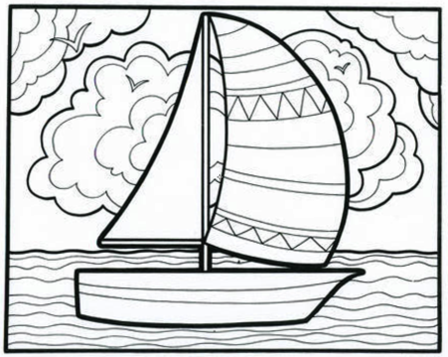 Its A Smoooooth Sailboat Coloring Book Page From Our Classic Lets Doodle This Educational