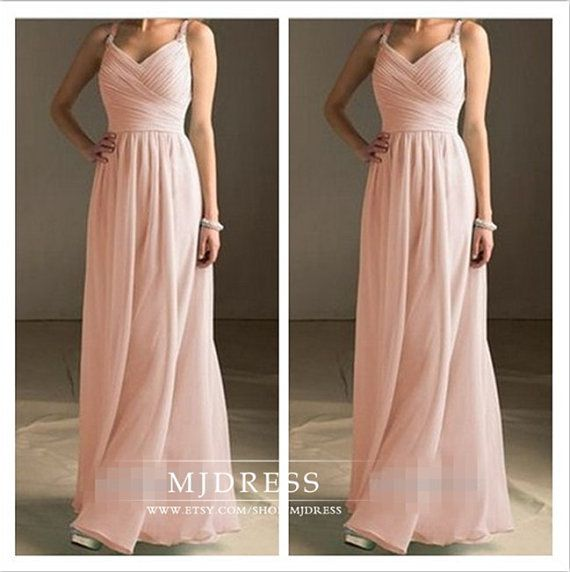 Peach Bridesmaid Dress Simple Floor By Mjdress 98 00