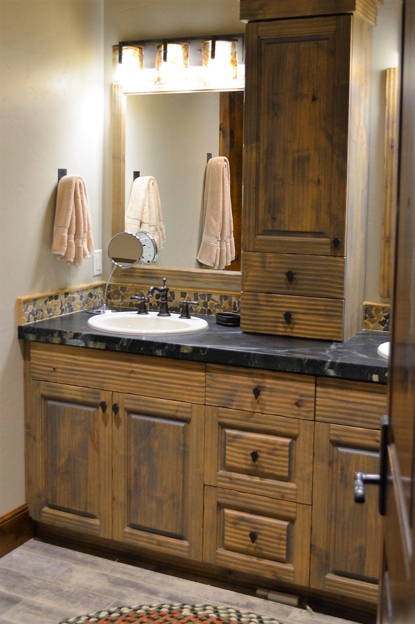 Grey Granite Countertop River Rock Backsplash Guest Bathroom