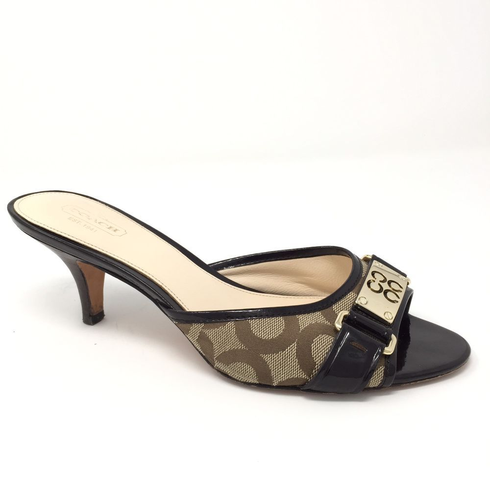 b42ea478ec785 Coach Isla 8.5B Signature C Brown Kitten Heel Open Toe Mules | eBay ...