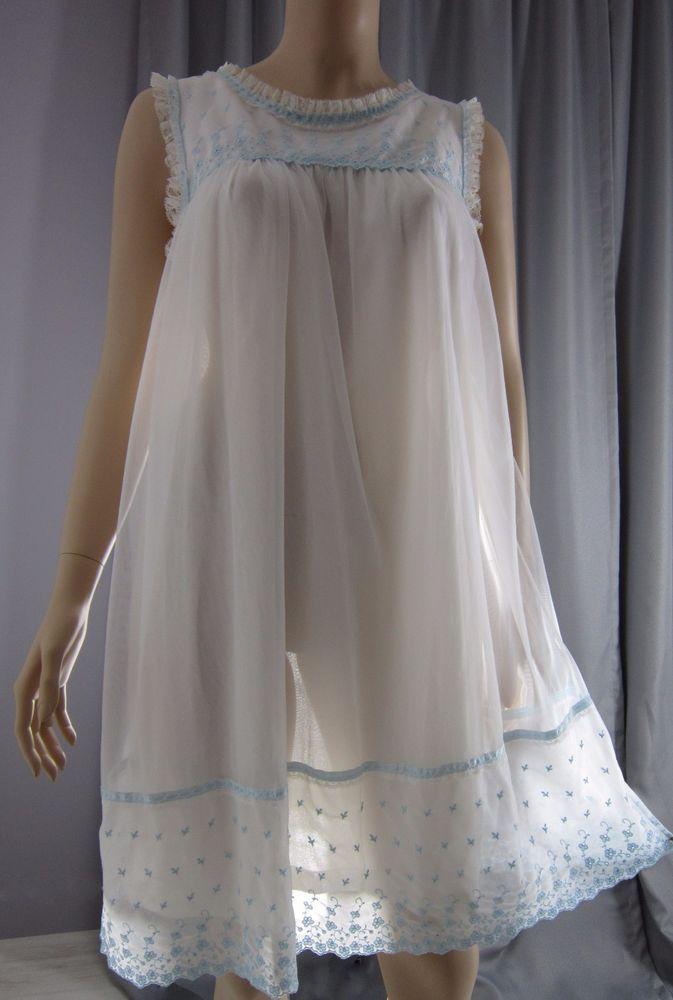 Vintage S White Sheer Chiffon Overlay Babydoll Nightie Nightgown Lace Komar