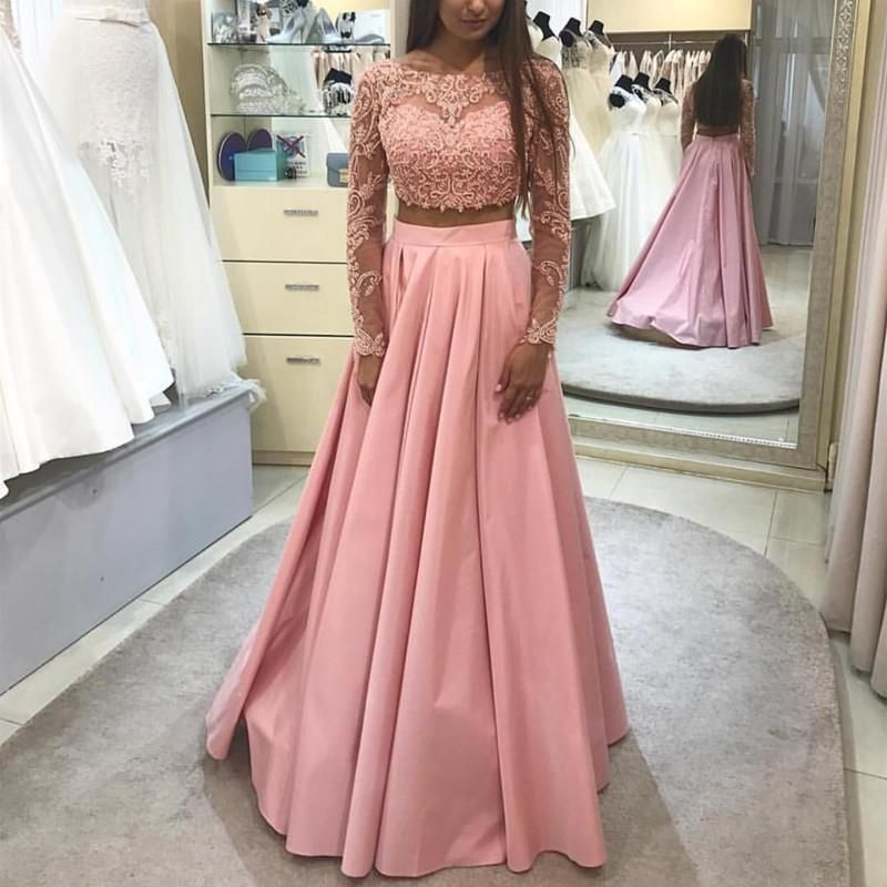 Elegant Lace Long Sleeves Ball Gowns Prom Dresses Two Piece ...